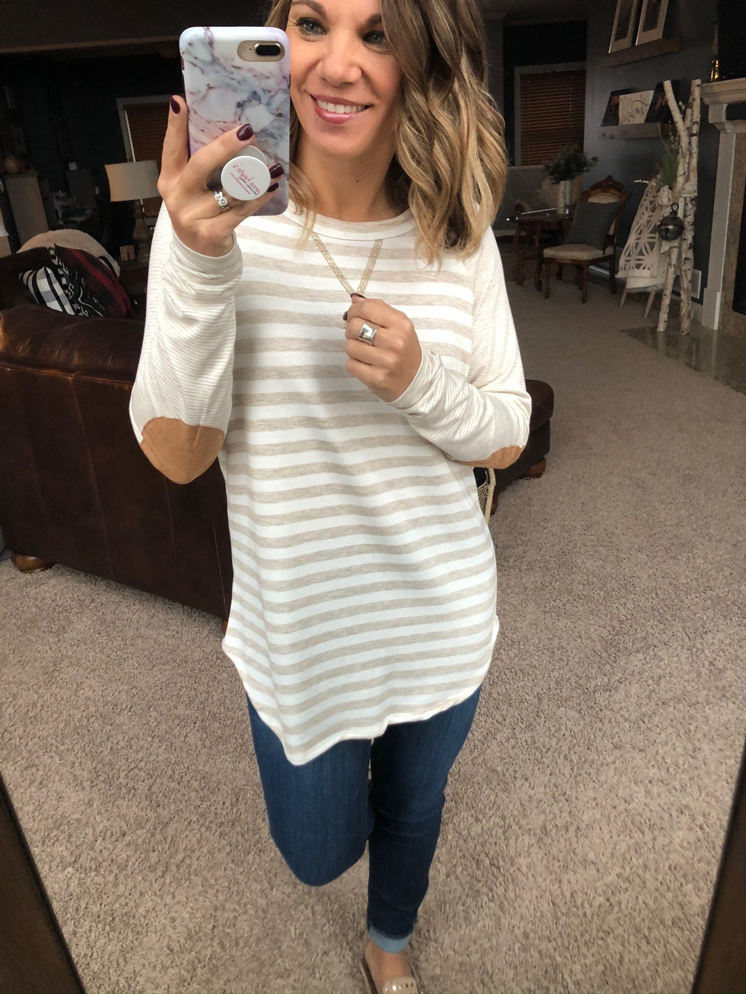 Like A Charm Striped Long Sleeve w/ Elbow Patches- Oatmeal and Ivory