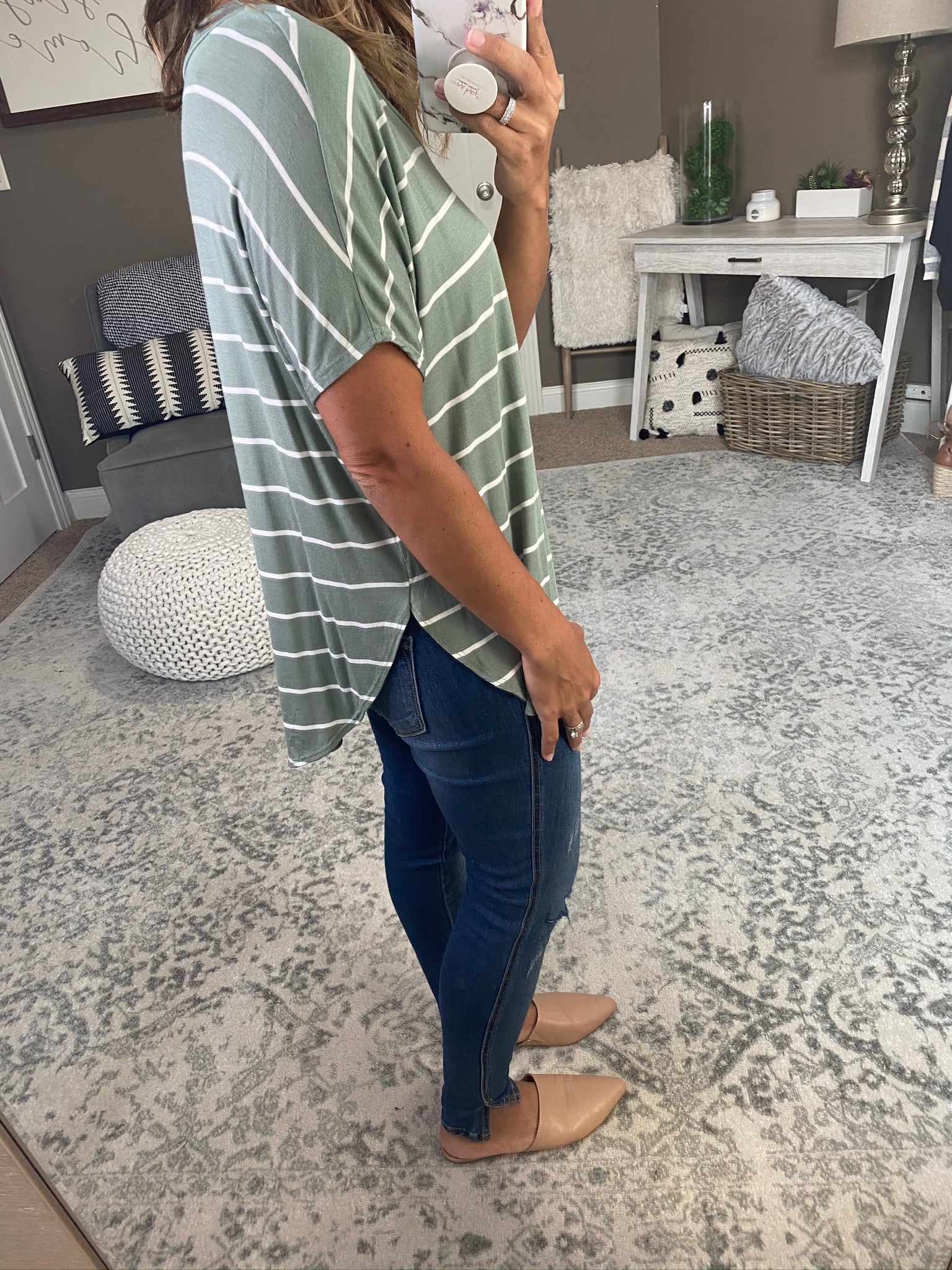 Same Routine Olive and Ivory Striped V-Neck Tee with Split Scoop Hem