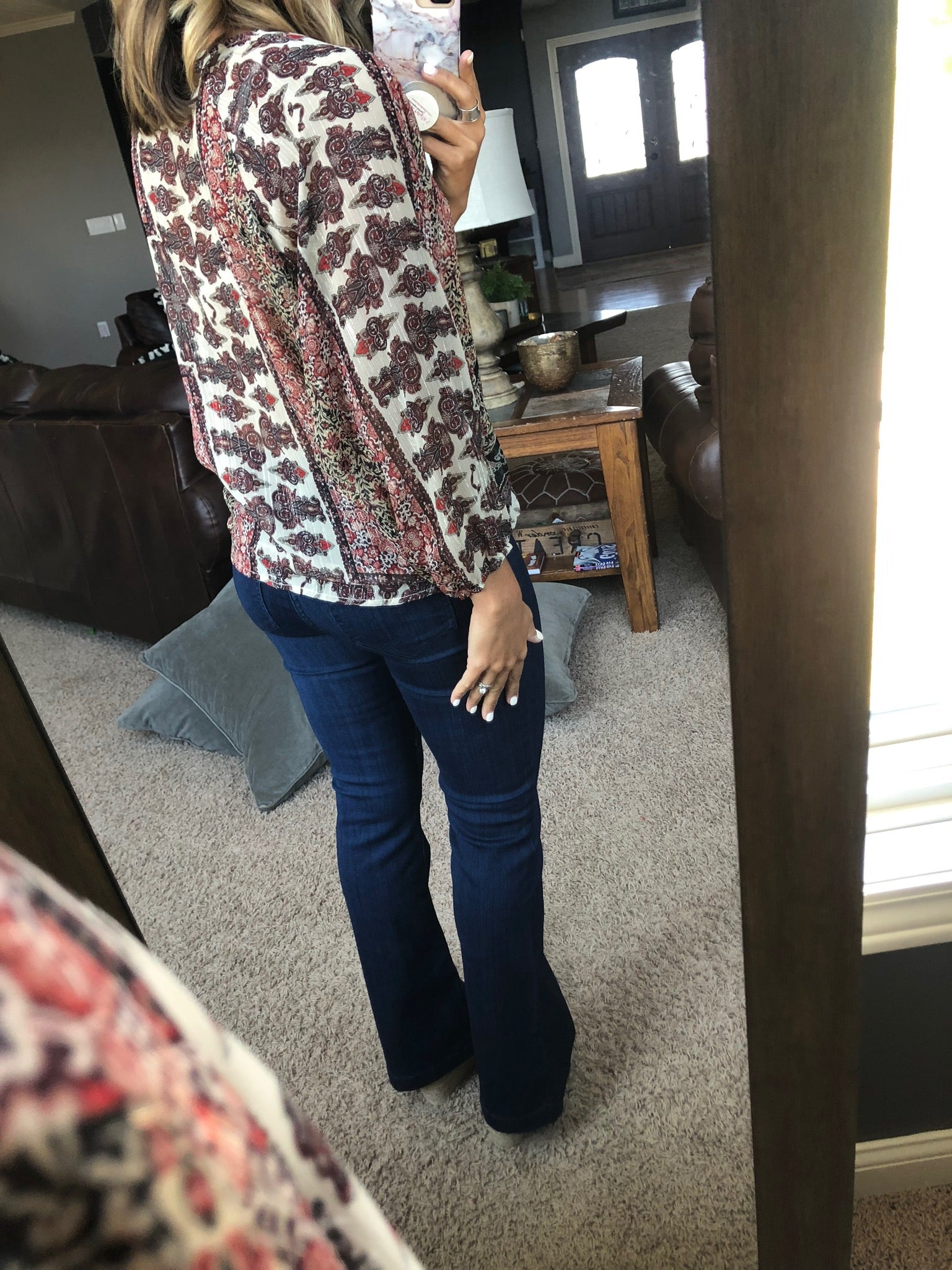 Slow Motion Cream and Burgundy Mixed Print Faux Wrap 3/4 Sleeve