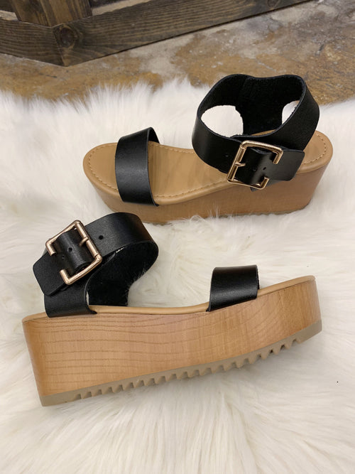 Weekend Rules Platform Sandals- Black