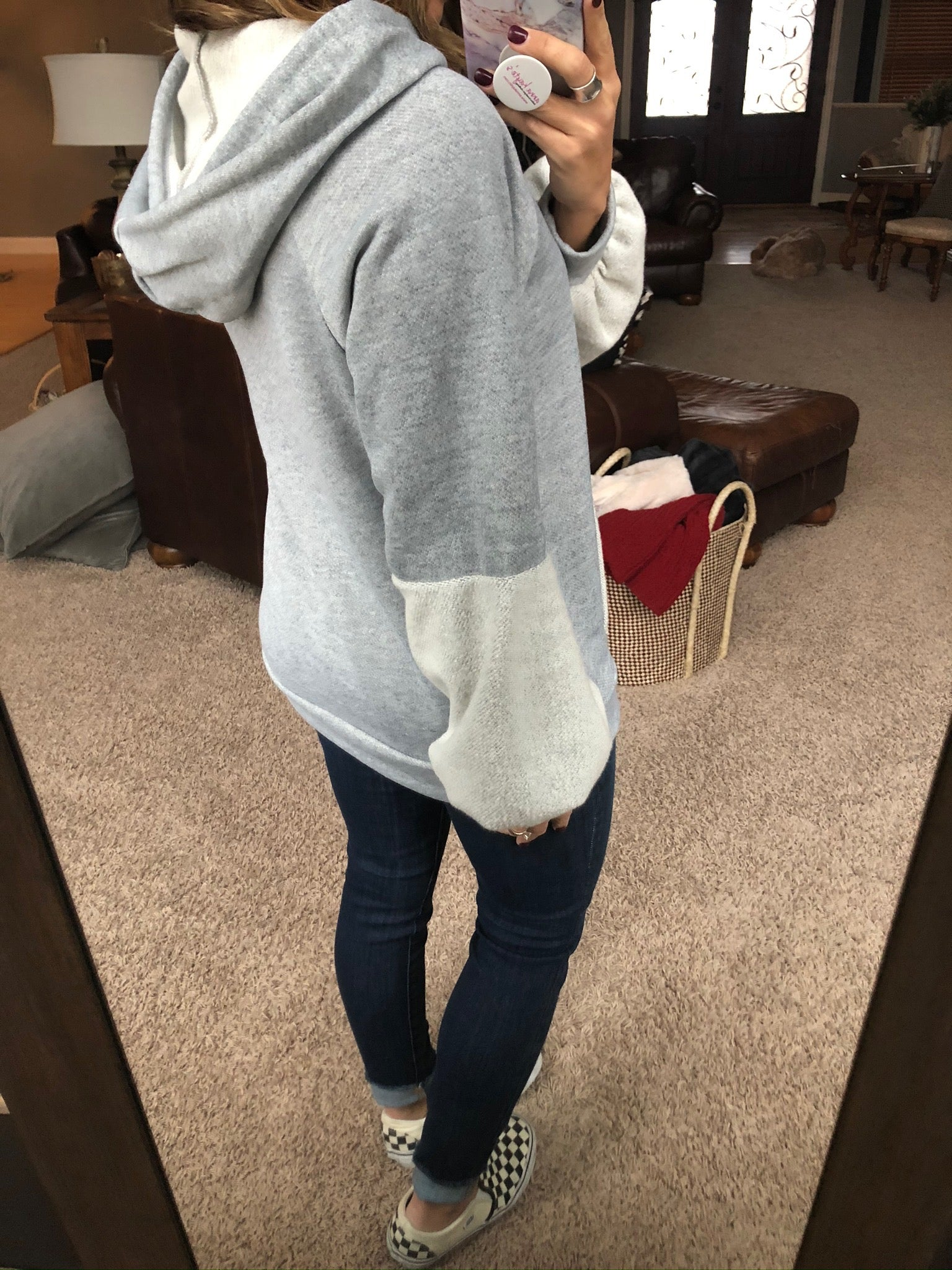 No Need To Worry Grey Hoodie with Fleece Details