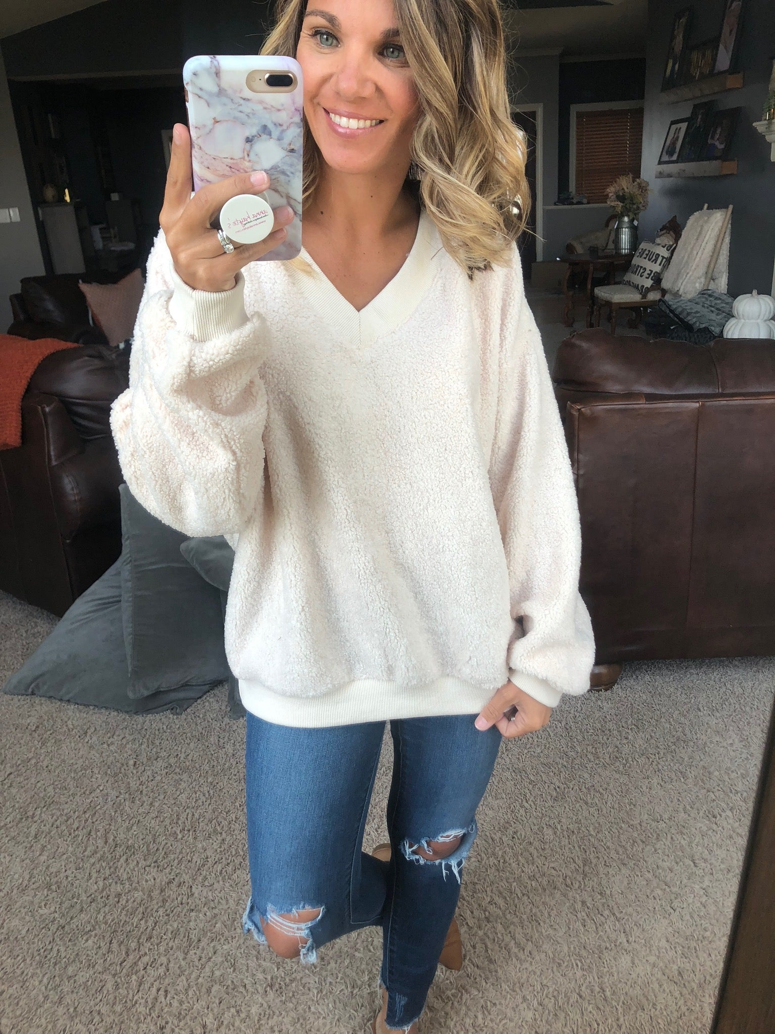 Got Me Turned Around Cream V-Neck Sweater