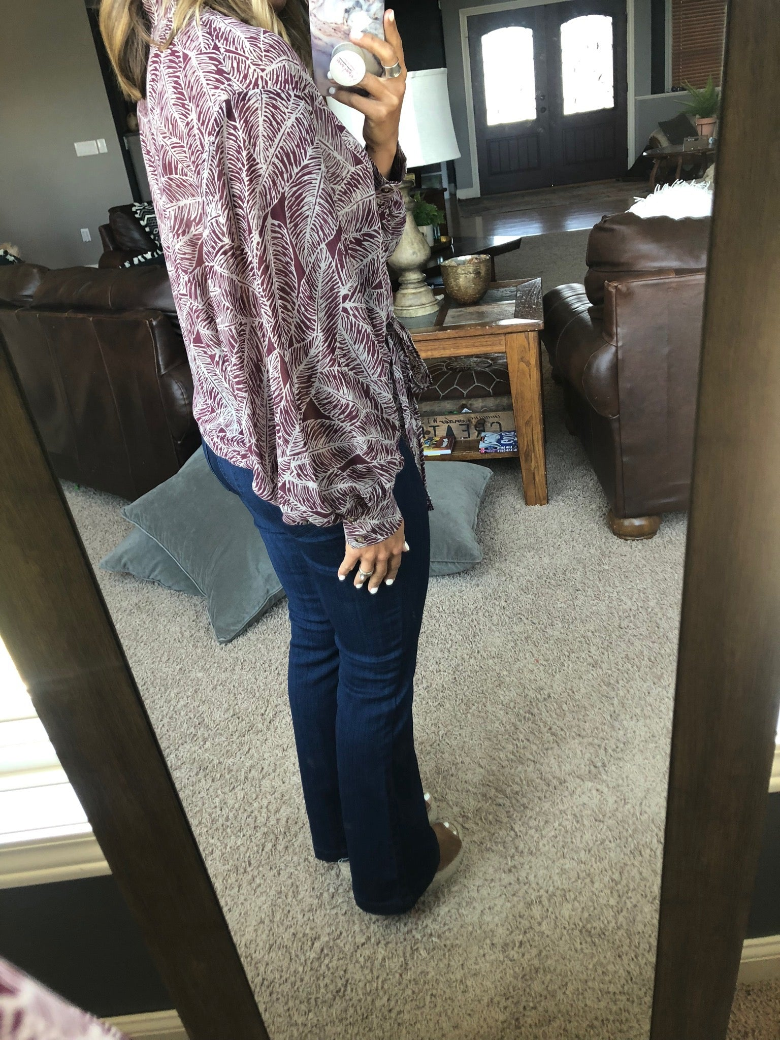 Hearts Ain't Gonna Lie Burgundy and Cream Semi-sheer Dolman Blouse with Front Tie