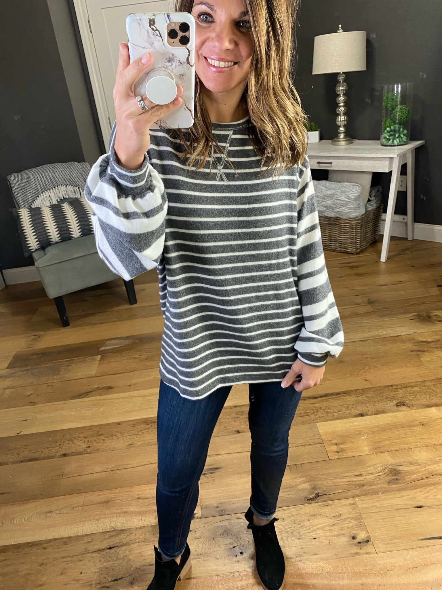 Never Fear Brushed Fleece Striped Long Sleeve with Balloon Sleeve- Multiple Options