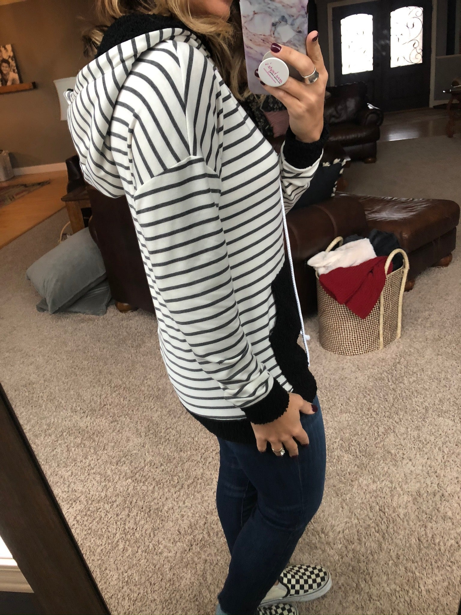 Good Intentions Black and Ivory Striped Hoodie