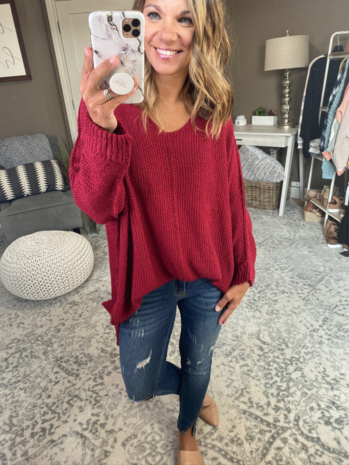 Being Honest Knit Dolman V-Neck Sweater with Exposed Seams- Multiple Options