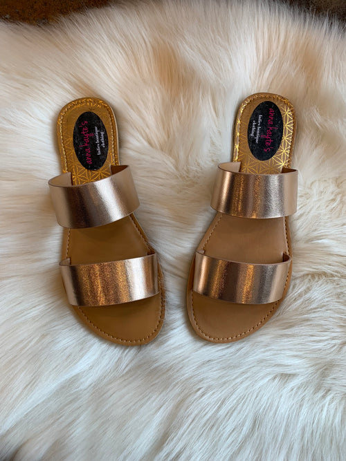 On The Double Rose Gold Sandals