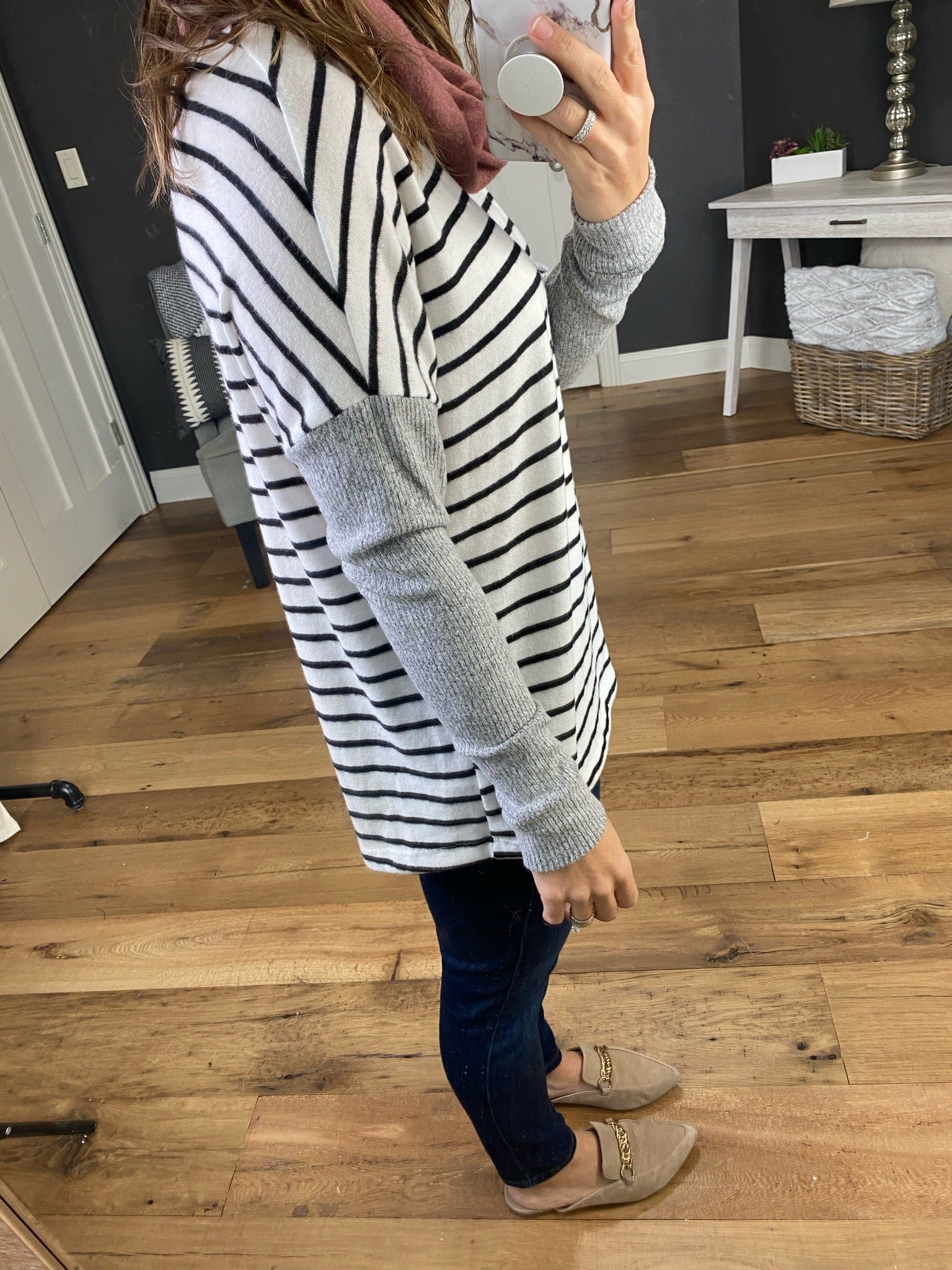 Day Dreaming Black & Ivory Stripes with Marsala Cowl Neck & Grey Waffle Long Sleeve