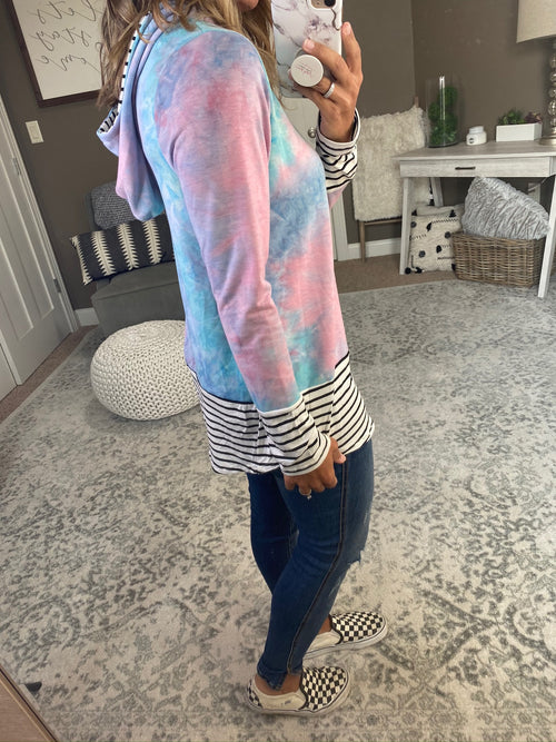 Mixed Emotions Cotton Candy Tie Dye Hoodie with Coloblock Stripe Detail