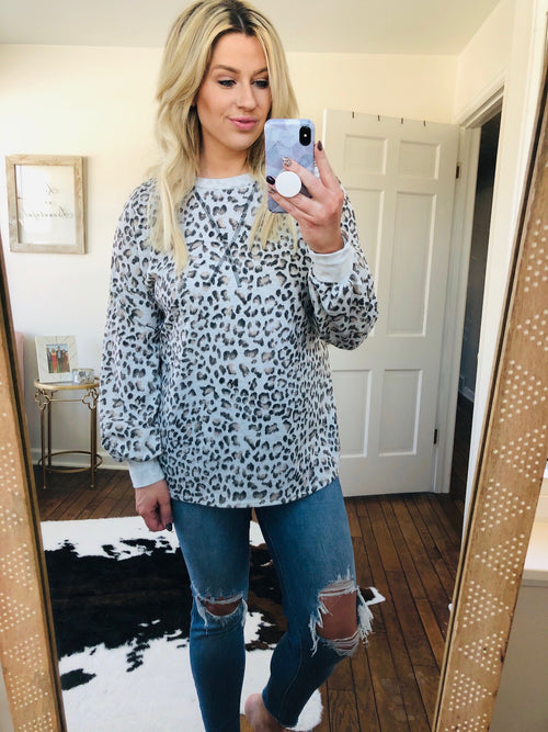Spotted You Grey, Taupe and Ivory Leopard Long Sleeve with Subtle Balloon Sleeve