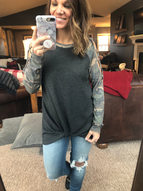 Watch Them Steal This Look Camo Cutout and Front Knot Long Sleeve Top