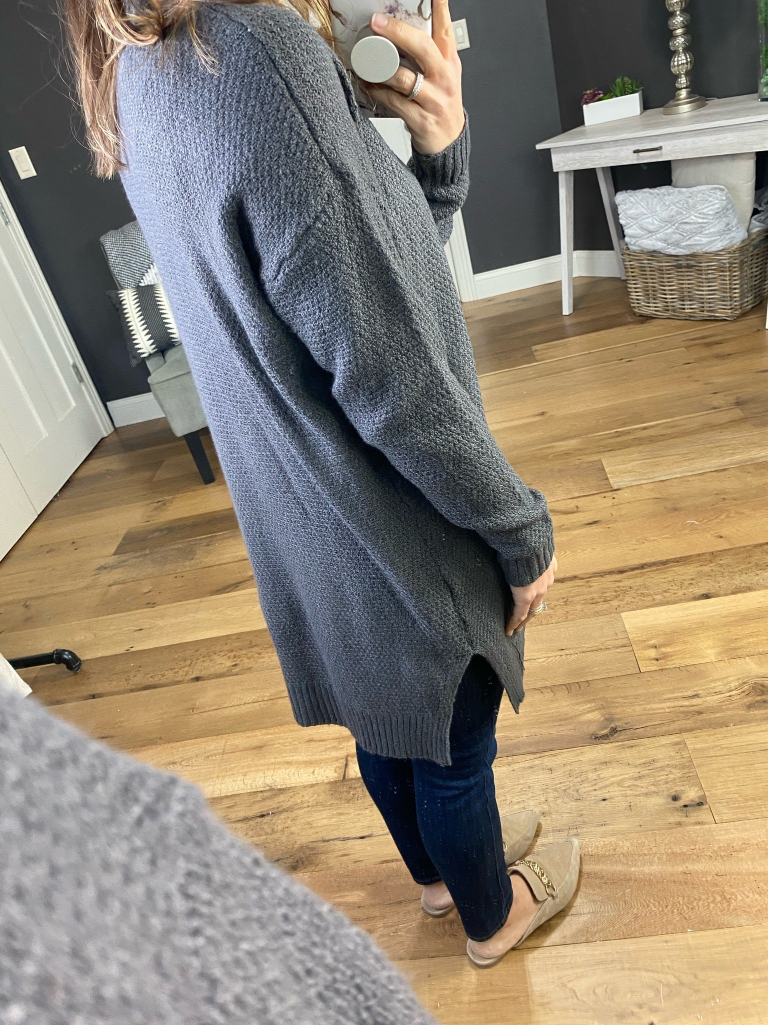 Weekender Charcoal Waffle Knit Cardigan with Pockets