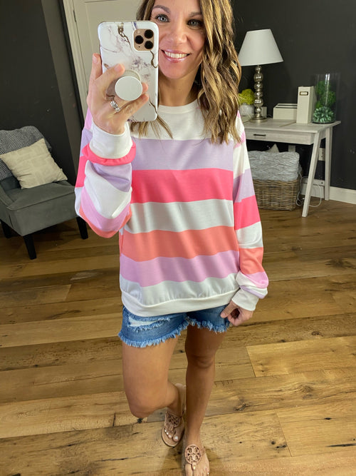 Paradise Falls Striped Long Sleeve- Coral and Lavender