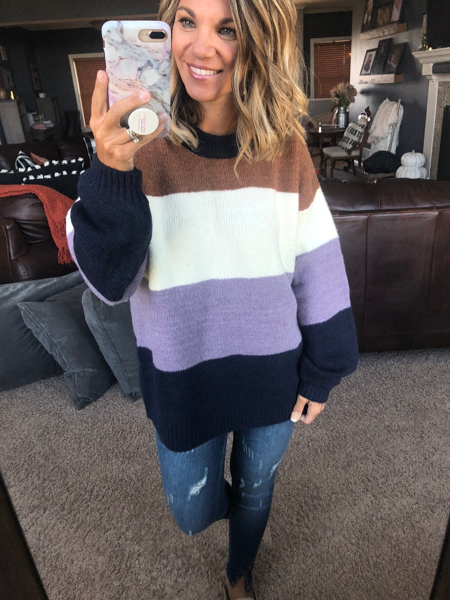 Sweet Spot Navy Color Block Balloon Sleeve Sweater