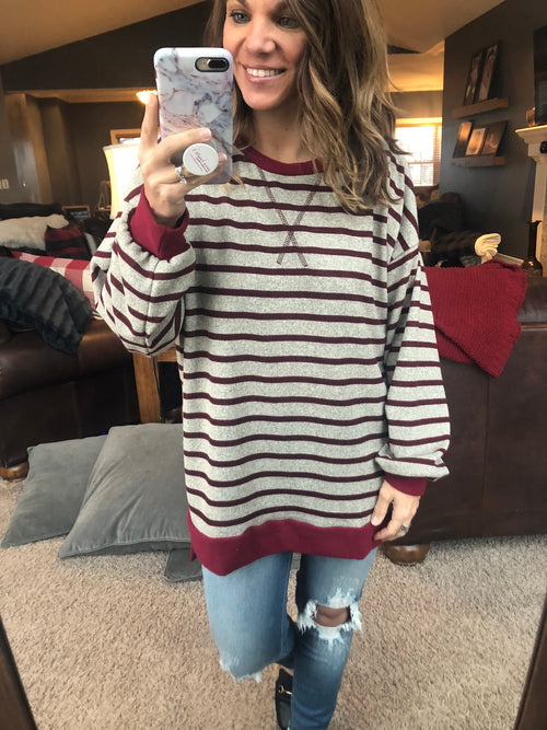 Love Cycle Mocha and Cranberry Stripe Long Sleeve