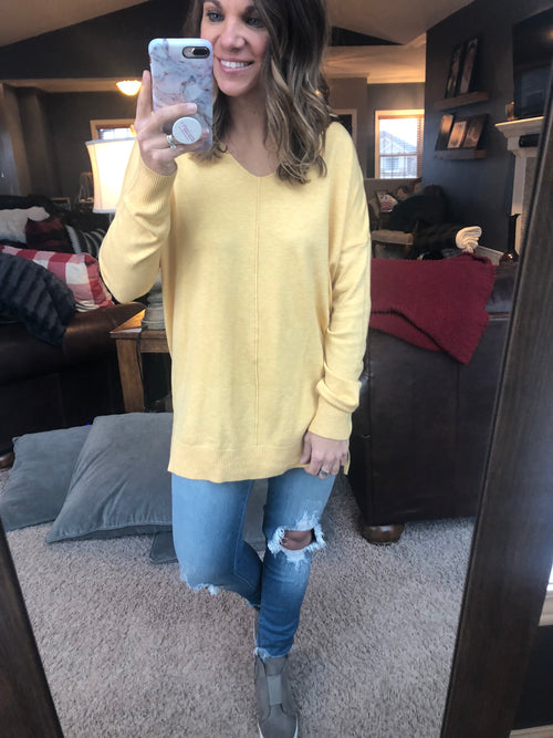Try To Resist Exposed Seam Sweater - Sunflower Yellow