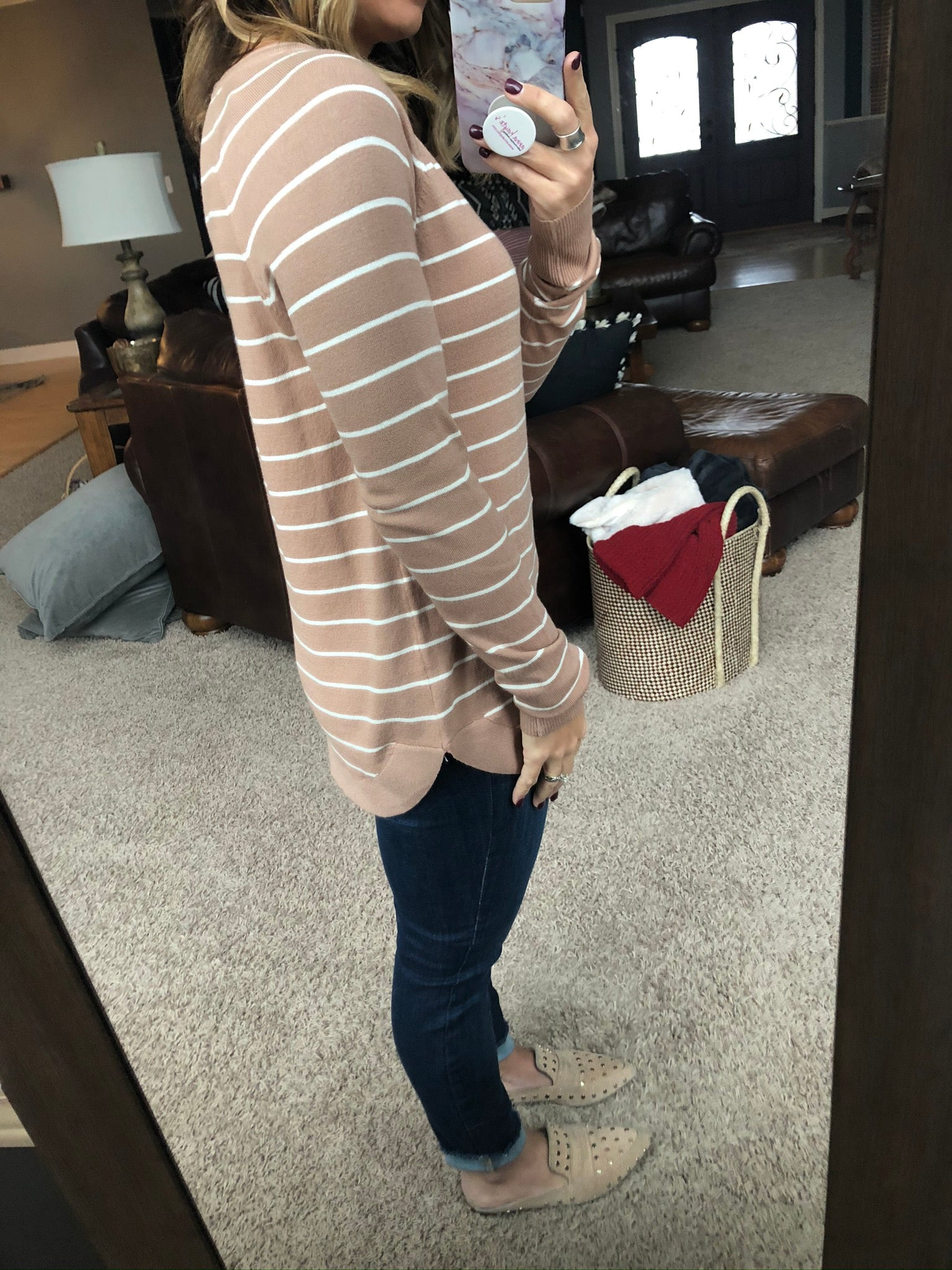 Right This Minute Striped Long Sleeve Sweater - Caramel & Cream