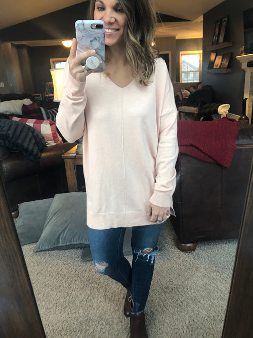Try To Resist Exposed Seam Sweater -Pale Rose