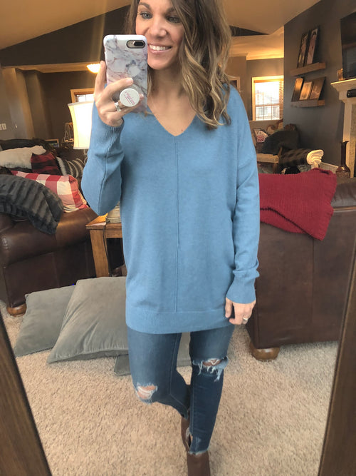 Try To Resist Exposed Seam Sweater - True Blue