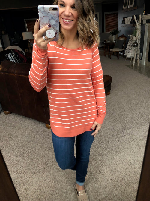 Right This Minute Striped Long Sleeve Sweater- Coral and Ivory