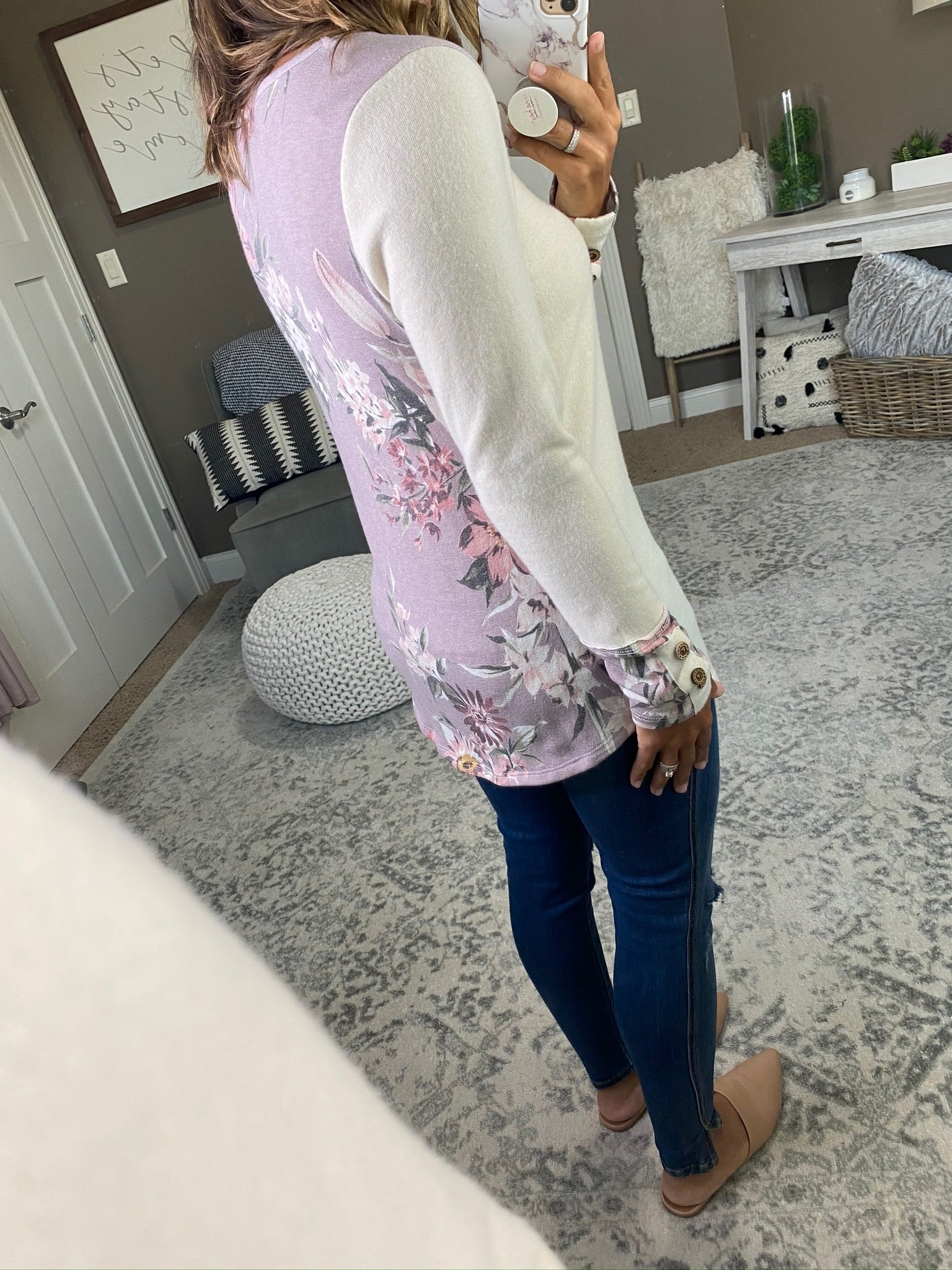 Tempt Me Cream Bushed Fleece Long Sleeve With Floral Cuff and Back Detailing