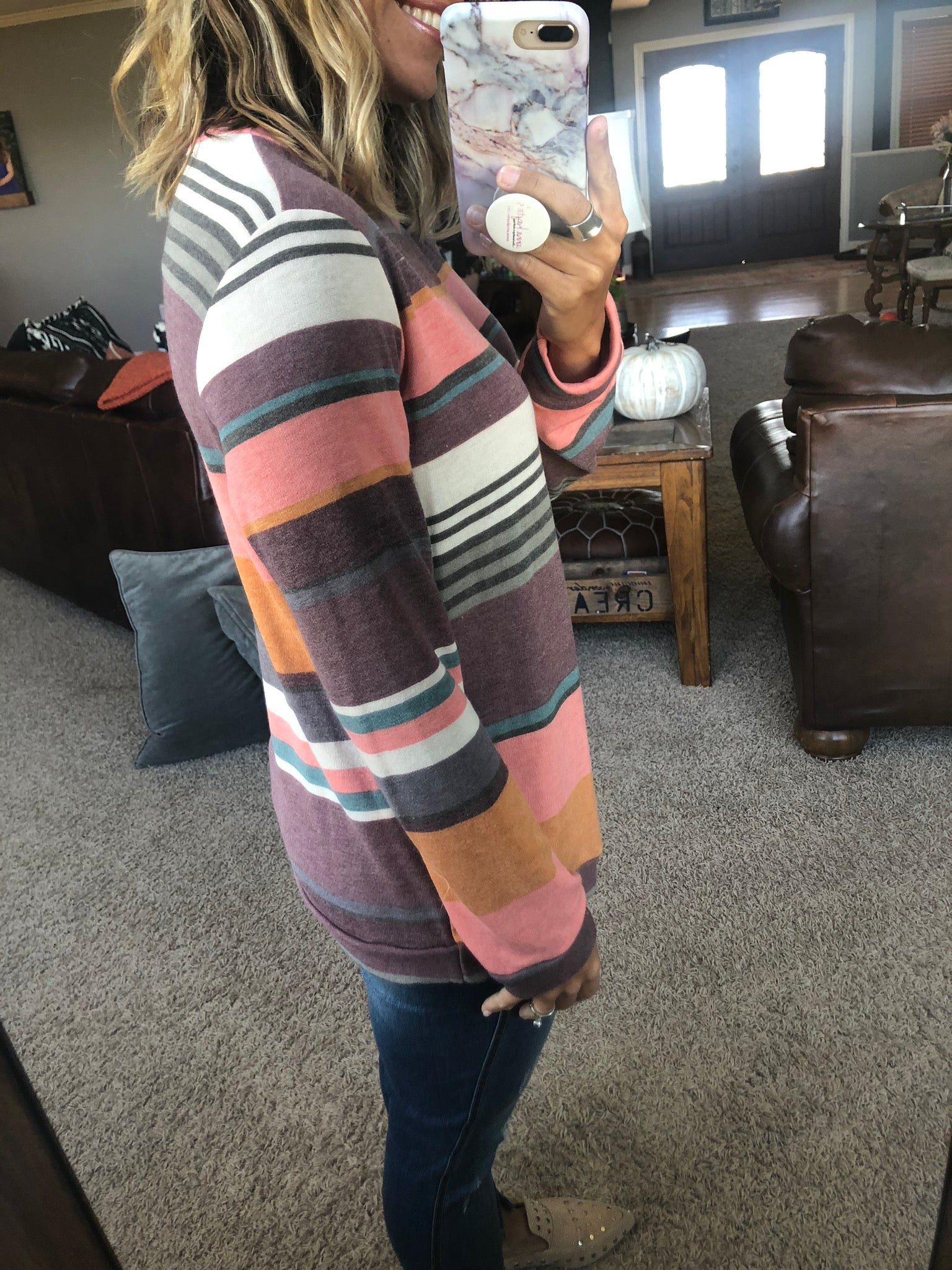Roll With My Girls Vintage Washed Multi Stripe Long Sleeve