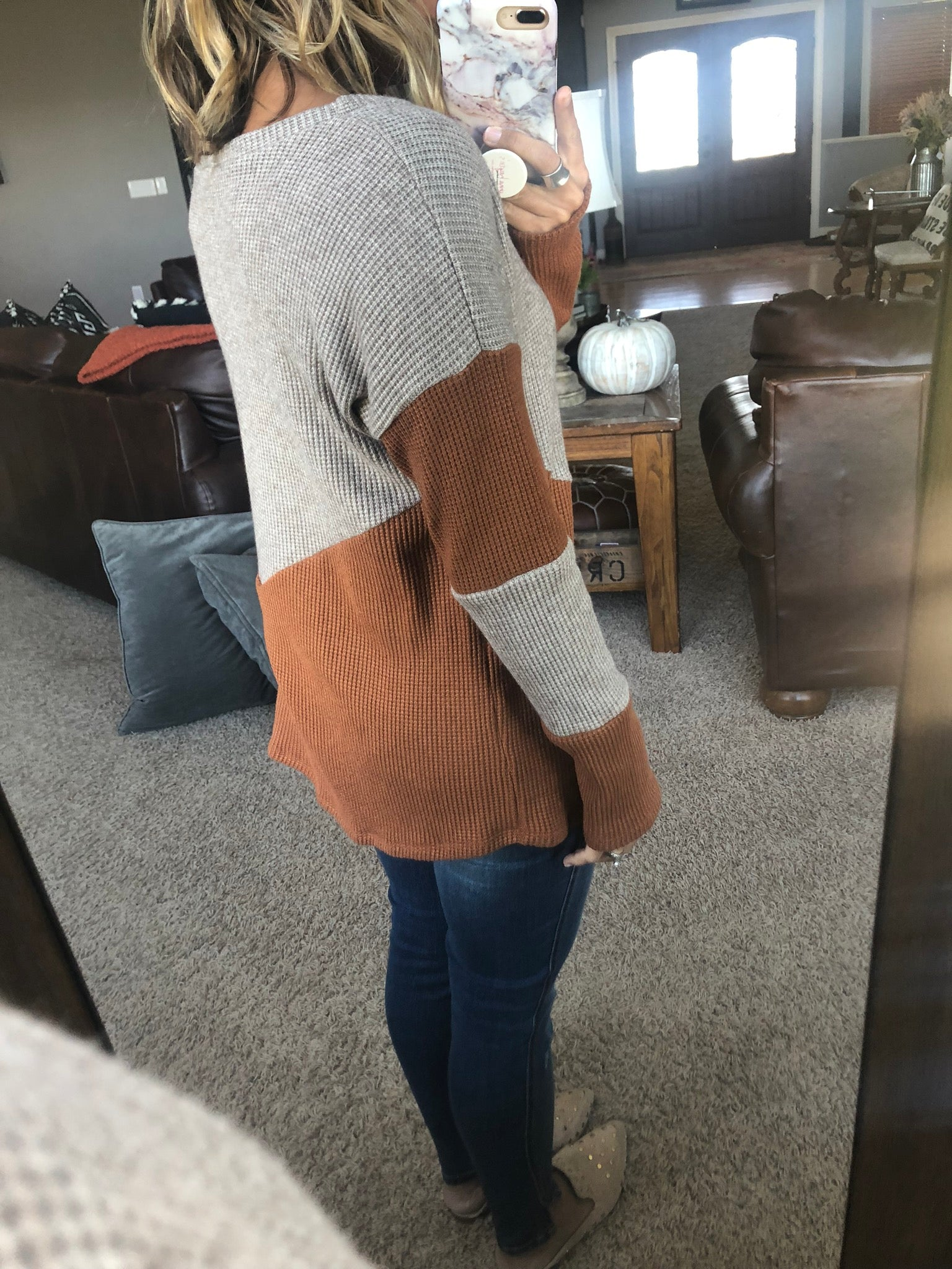 My Lucky Penny Two Tone Copper Waffle Long Sleeve