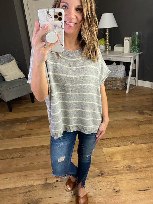 Switch It Up Grey and Cream Striped Reversible Short Sleeve Sweater