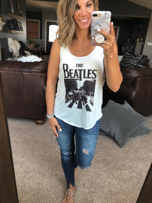 The Beatles Ivory Graphic Racerback Tank