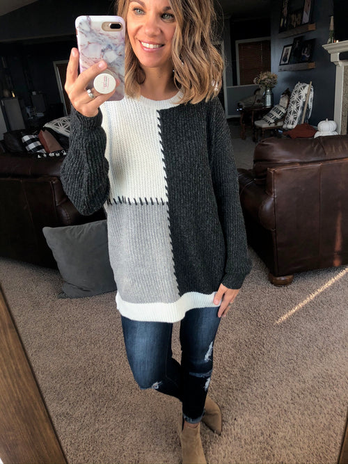 Falling Into Place Black, Grey, Cream Mix Patchwork Sweater