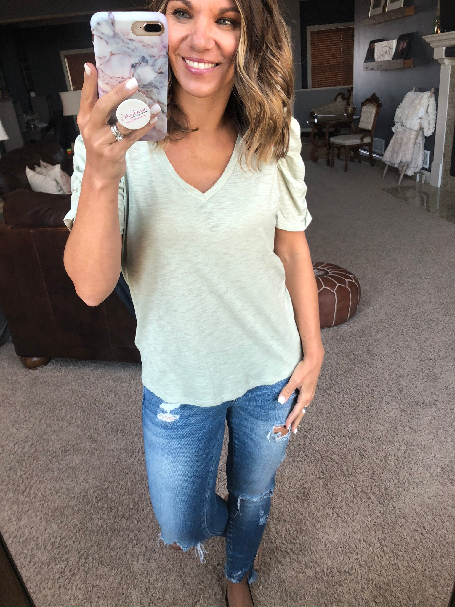 Here and Now V-Neck Tee with Cinched Sleeve Detail - Pale Sage