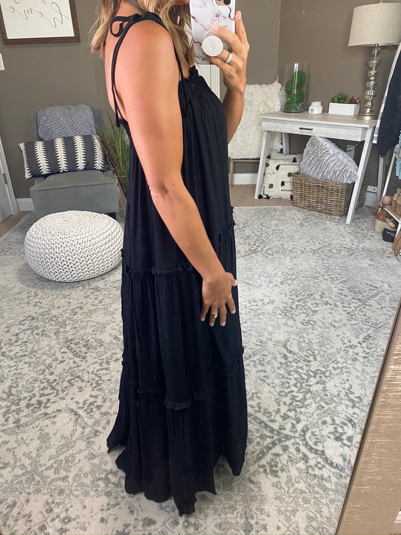 Summer On You Black Pleated Maxi Dress With Tie Straps