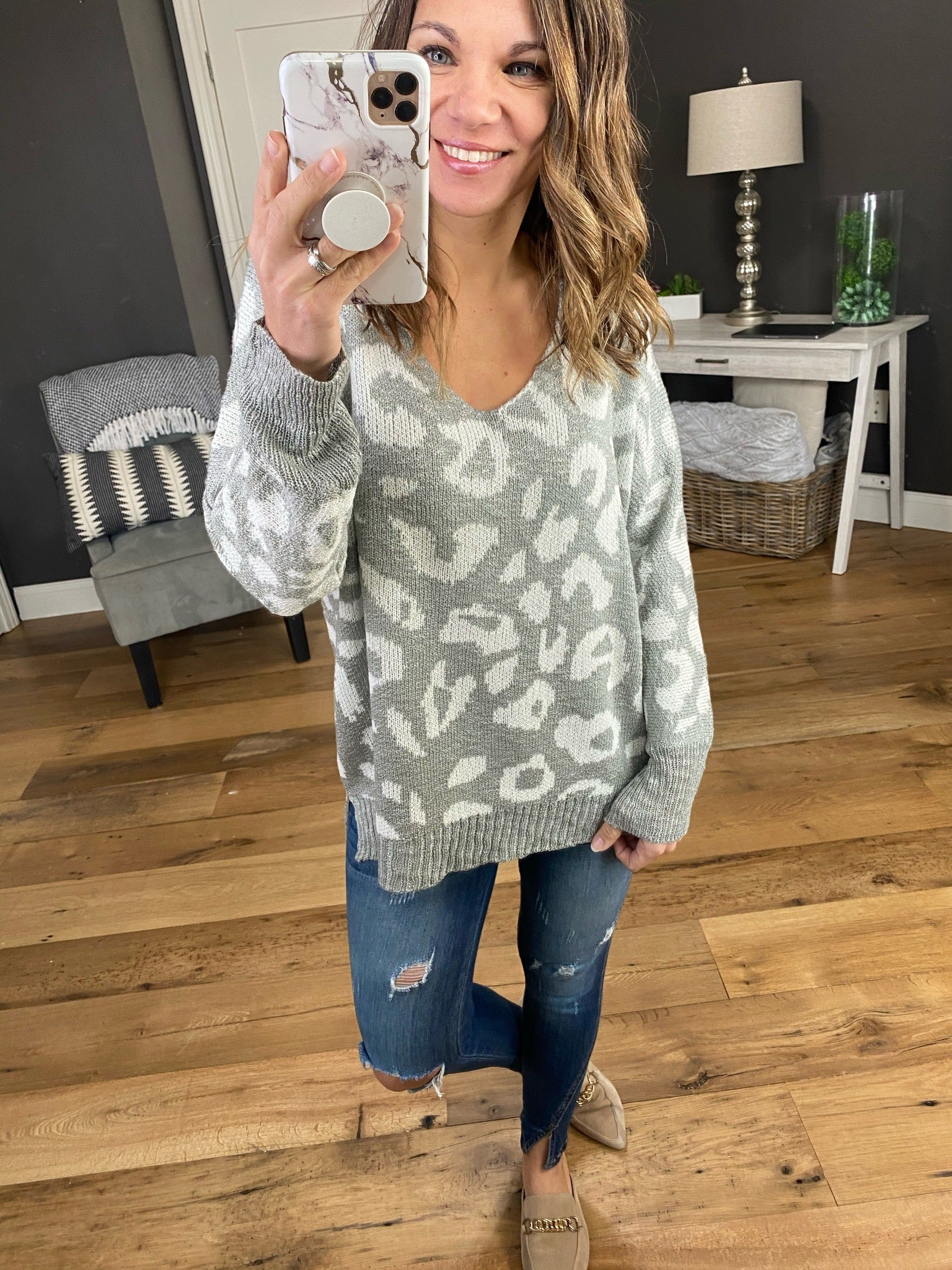 One Step At A Time Leopard Print V-Neck Knit Sweater--Multiple Options