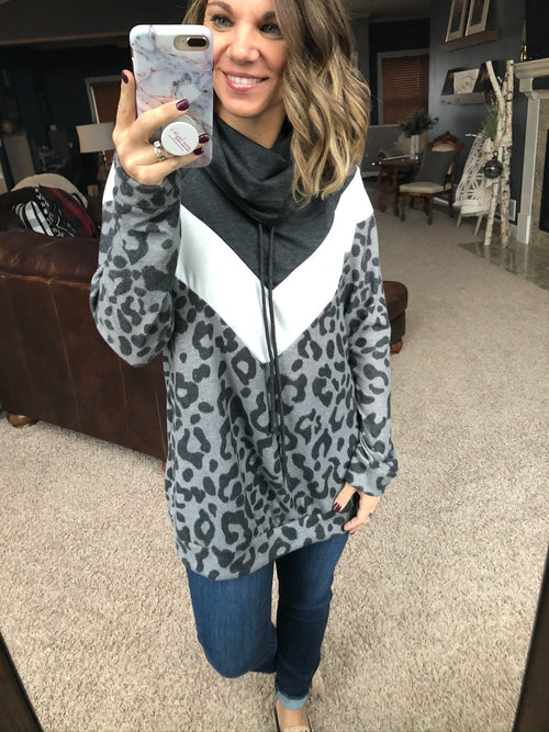 Mewow Leopard Colorblock Pullover with Cowl Neck- Charcoal Print