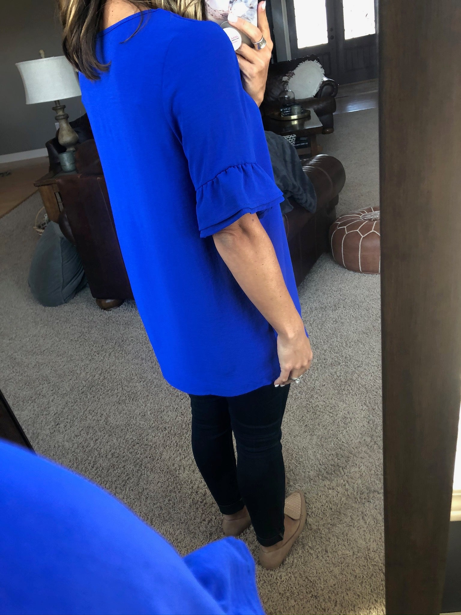 Just The Way Royal Blue Tee With Ruffle Sleeve