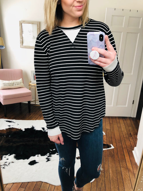 Kodak Moments Black and White Mini Ribbed Long Sleeve Top