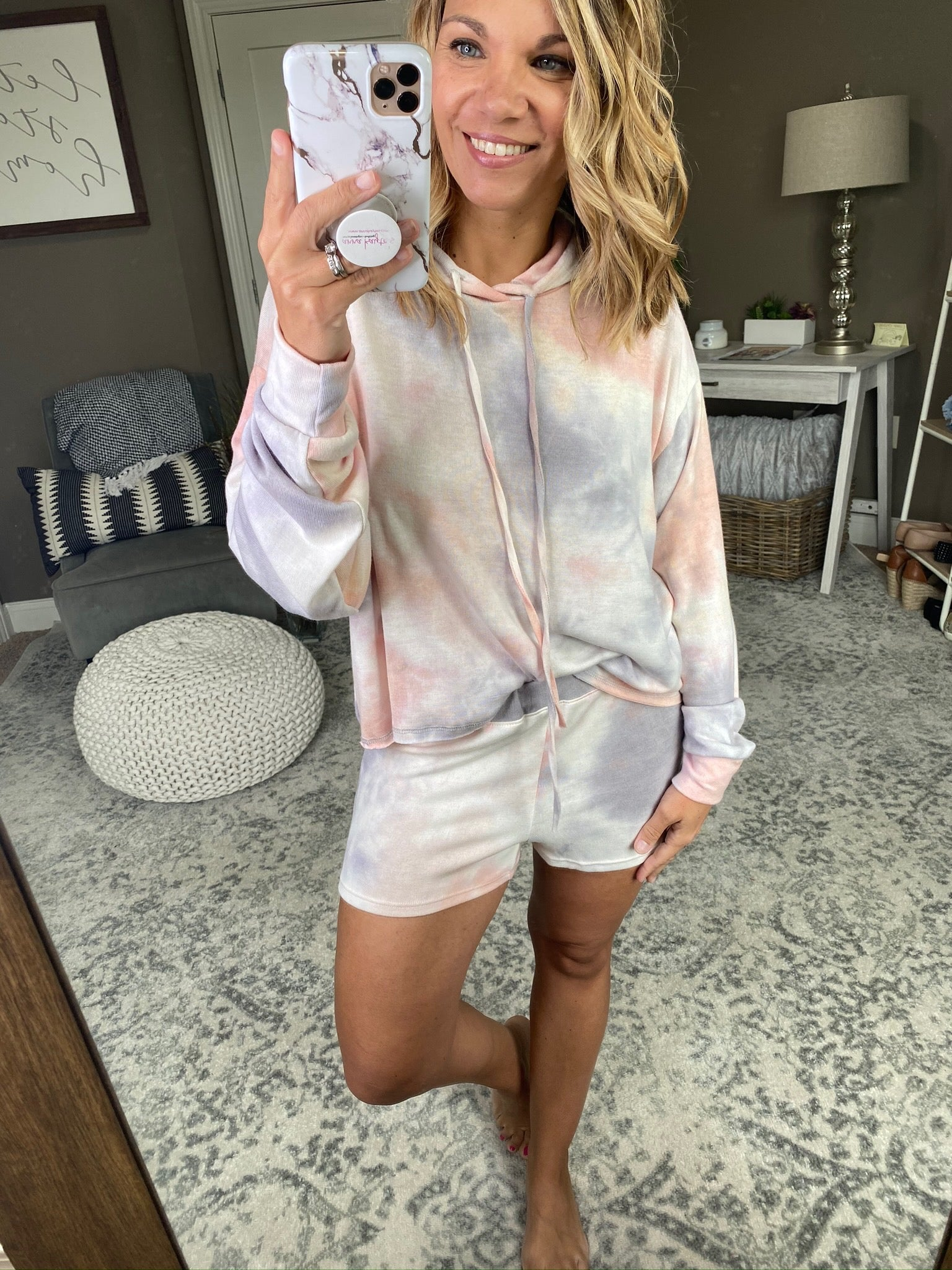 Hold My Calls Coral, Pink and Grey Mix Tie Dye Hoodie and Shorts Set