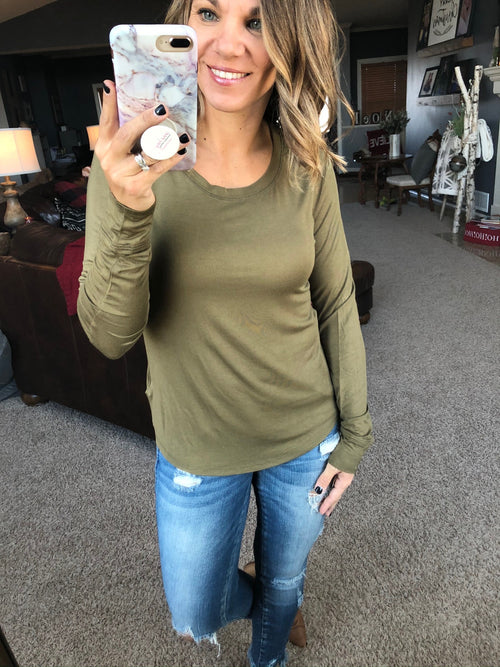 Never Let Go Round Neck Long Sleeve- Deep Olive