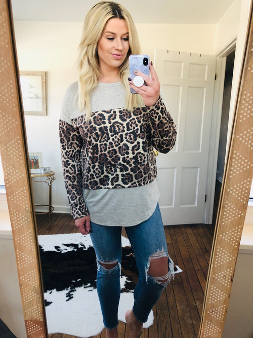 Cool To Be Casual Oatmeal and Leopard Colorblock Long Sleeve
