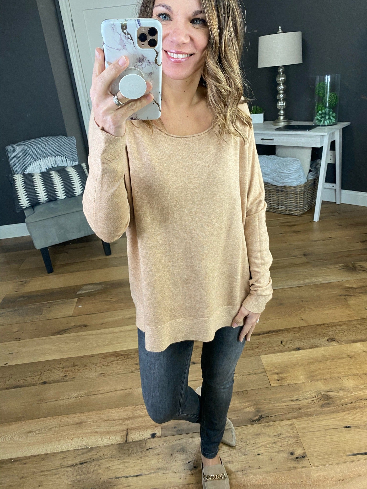 Starting Over Sand Boatneck Oversized Sweater