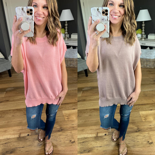 They Say Short Sleeve Knit Drop Shoulder Sweater - Multiple Options
