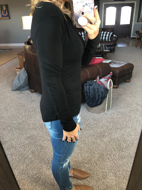 No Stopping Her Black Fitted Layering Long Sleeve