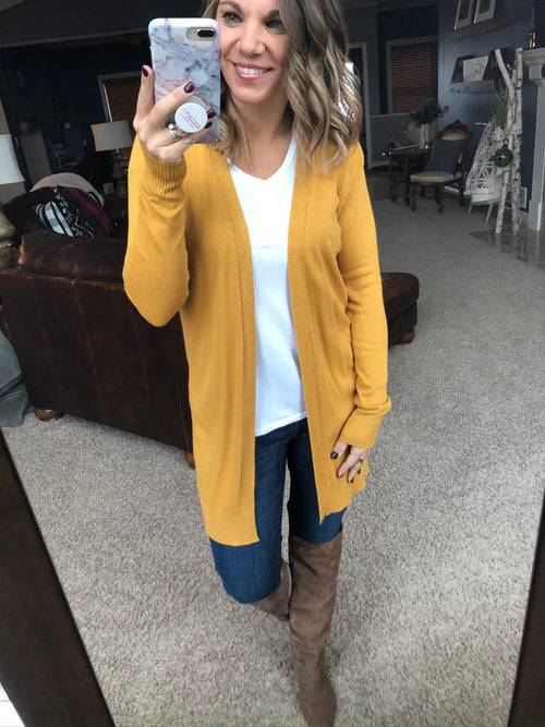 Always On The Run Open Front Cardigan- Yellow