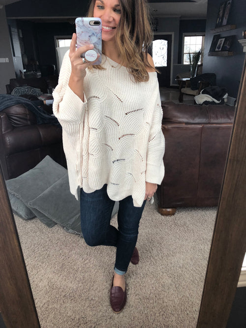 Warm Night Cream Detailed Sweater
