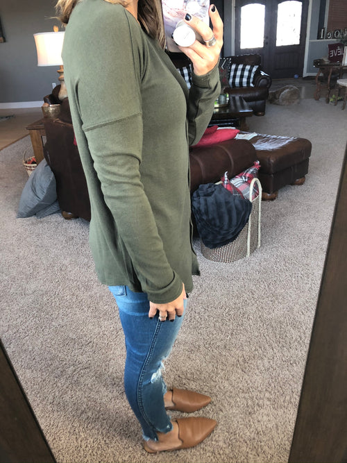 A Fresh Start Button Down Long Sleeve-Olive