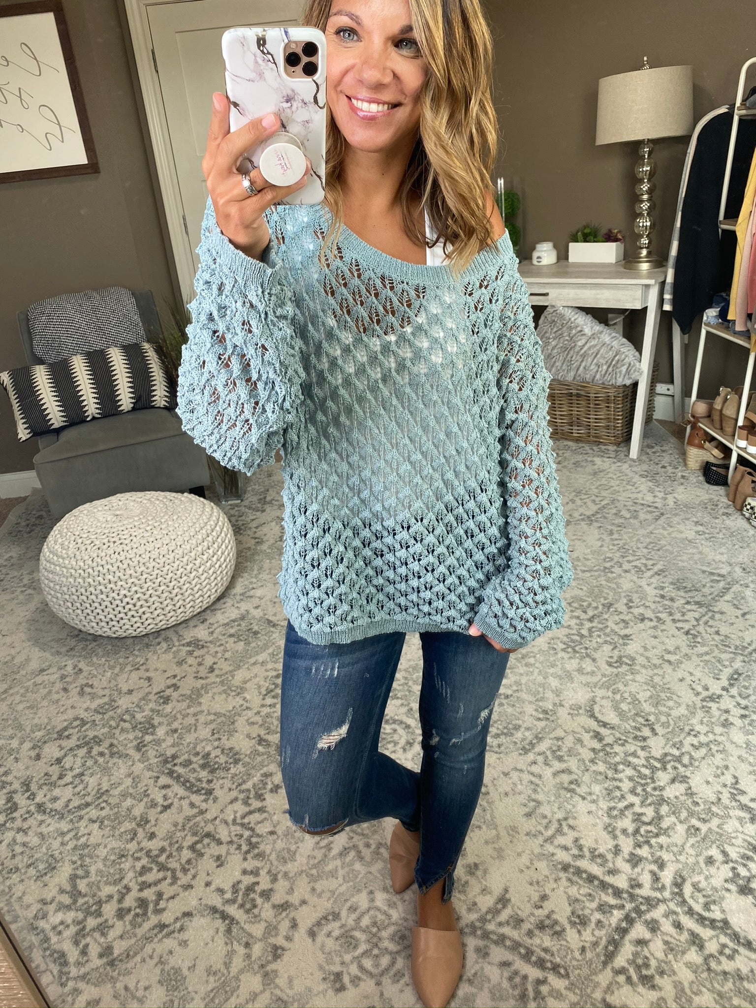 Best of Me Loose Knit Bubble Sweater- Moss