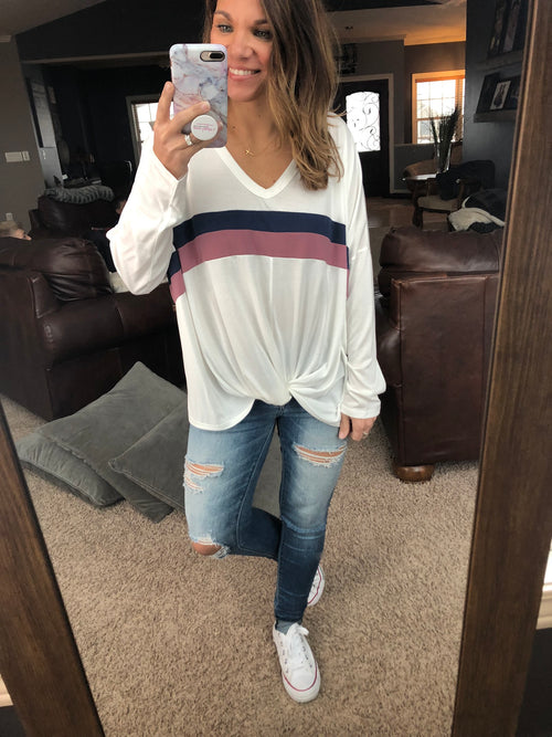 Well Worth It Ivory V Neck Front Twist Long Sleeve Top