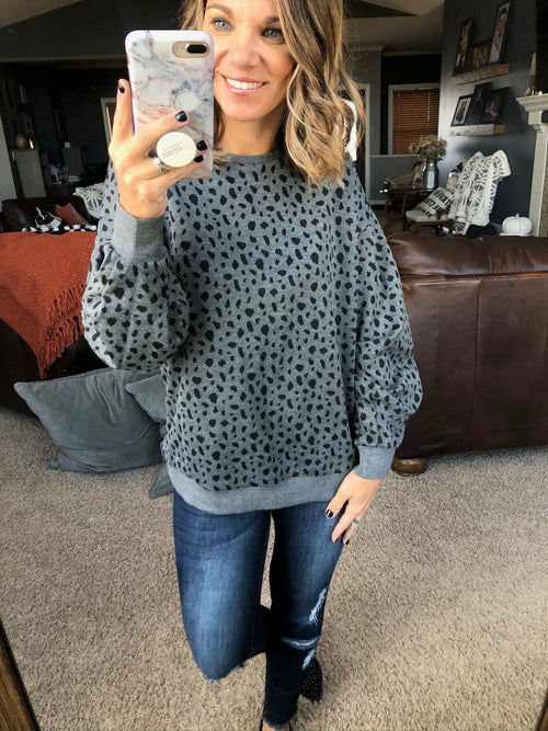 Wild Child Charcoal Spotted Sweatshirt w/ Tucked Sleeves