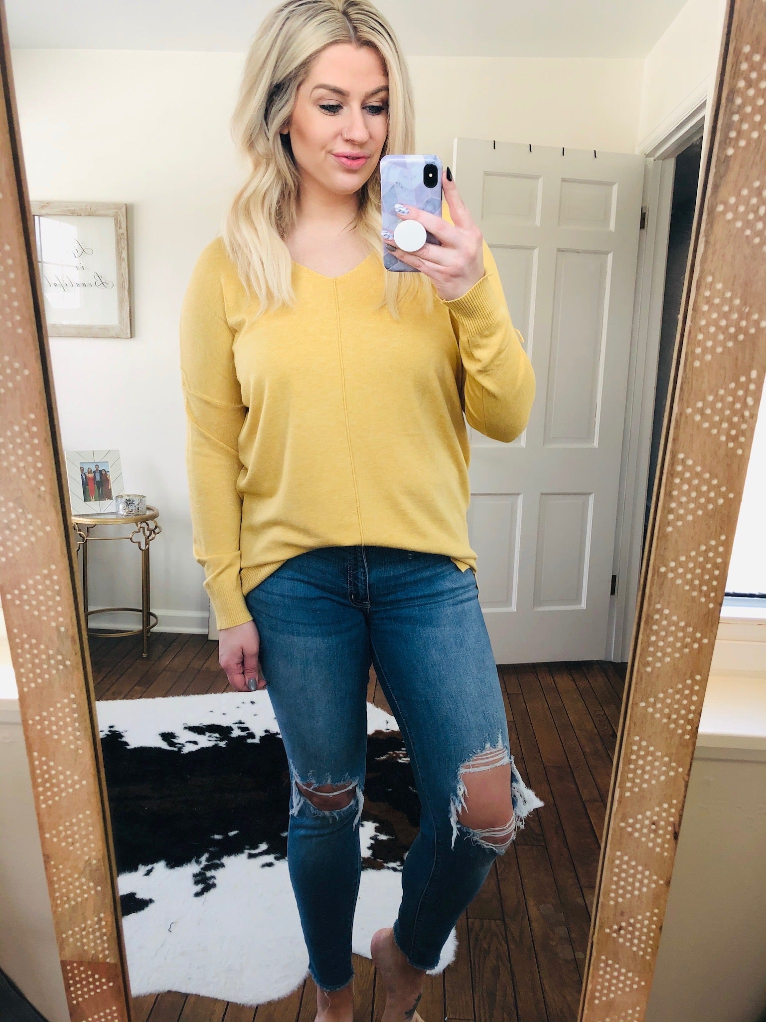 I Think I'm In Love Buttersoft V-Neck Exposed Seam Sweater- Dusty Yellow