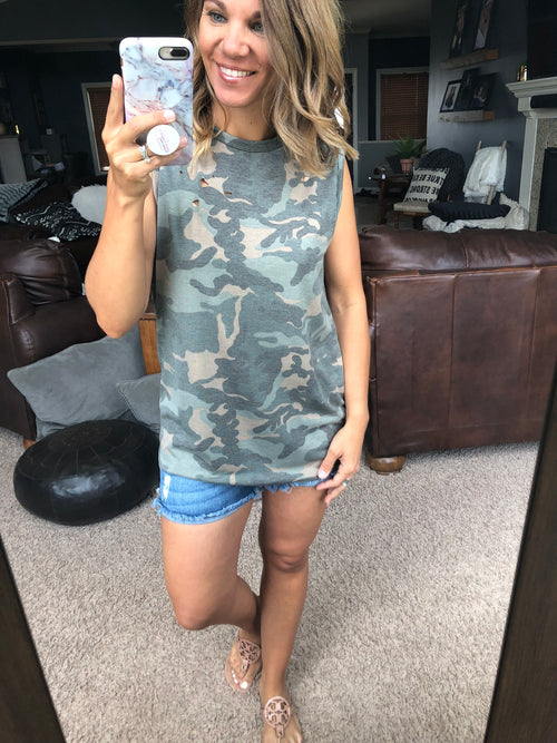 Laser Focus Distressed Camo Tank